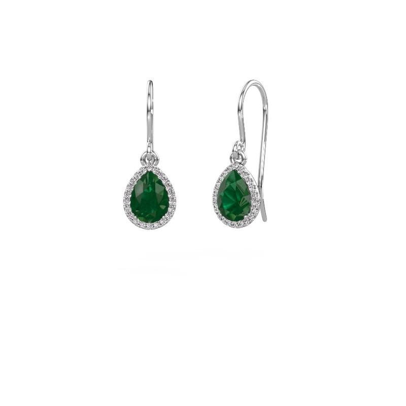 Oorhangers Seline per 950 platina smaragd 7x5 mm