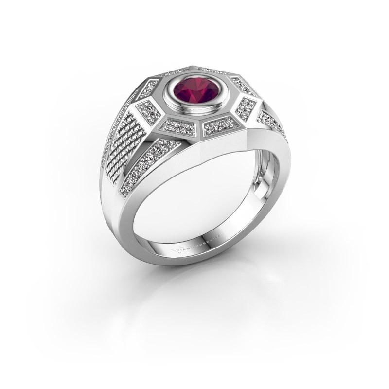 Heren ring Enzo 375 witgoud rhodoliet 5 mm