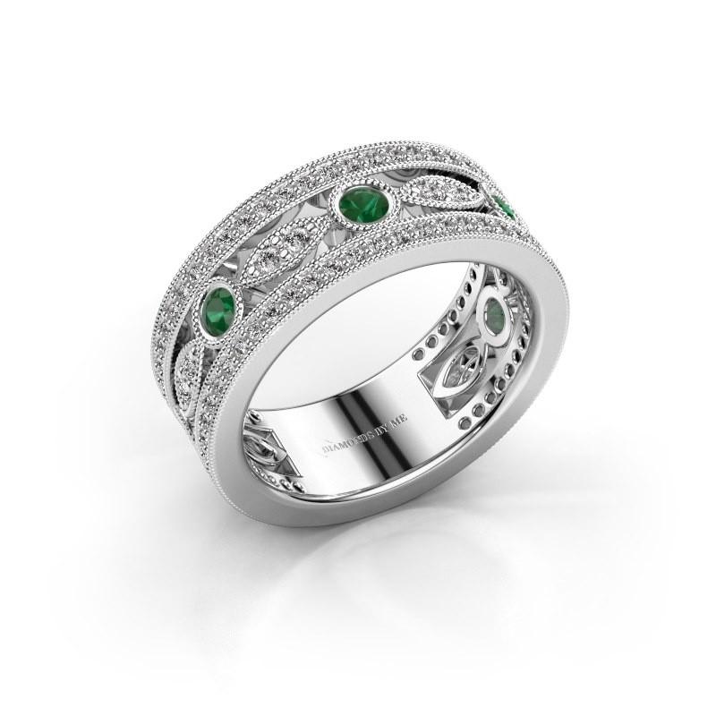 Ring Jessica 585 witgoud smaragd 2.5 mm