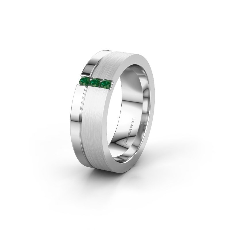Wedding ring WH0327L16B 925 silver emerald ±0.24x0.08 in