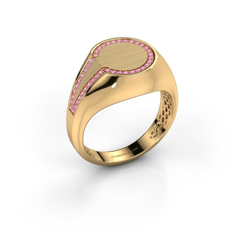 Men's ring Gijs 585 gold pink sapphire 1 mm
