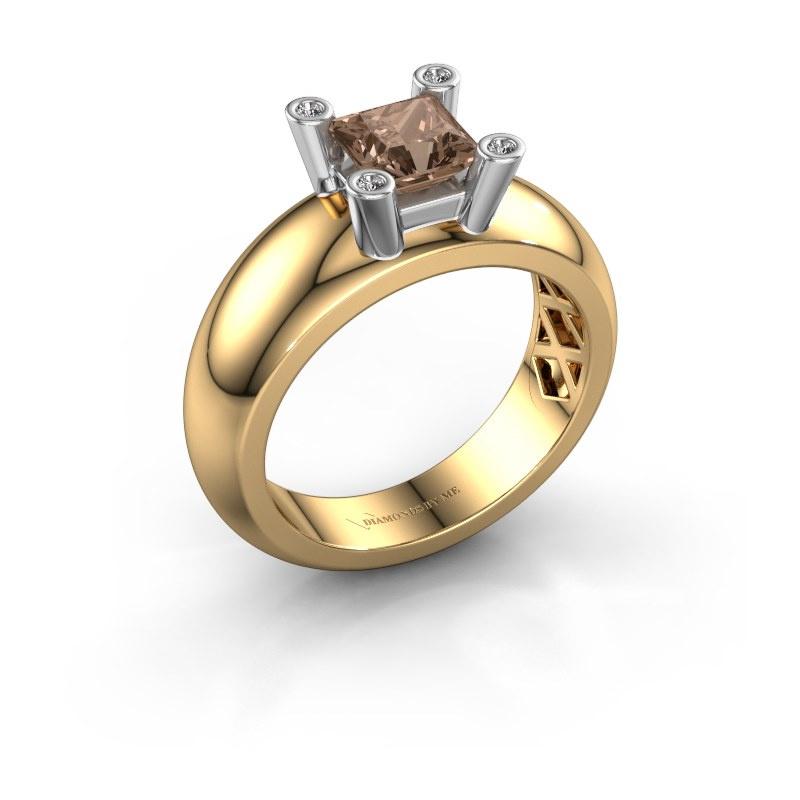 Ring Cornelia Square 585 gold brown diamond 0.78 crt