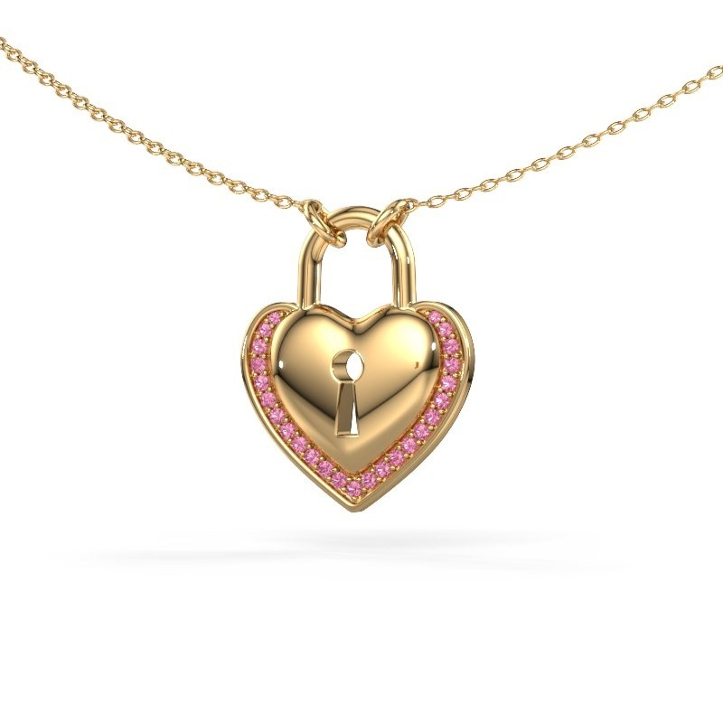 Halsketting Heartlock 585 goud roze saffier 1 mm