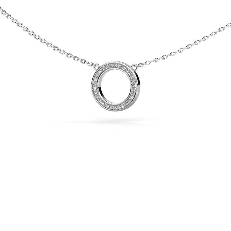 Hanger Round 1 925 zilver zirkonia 0.8 mm