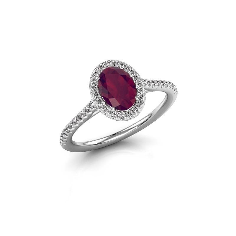 Engagement ring Seline 2 950 platinum rhodolite 7x5 mm