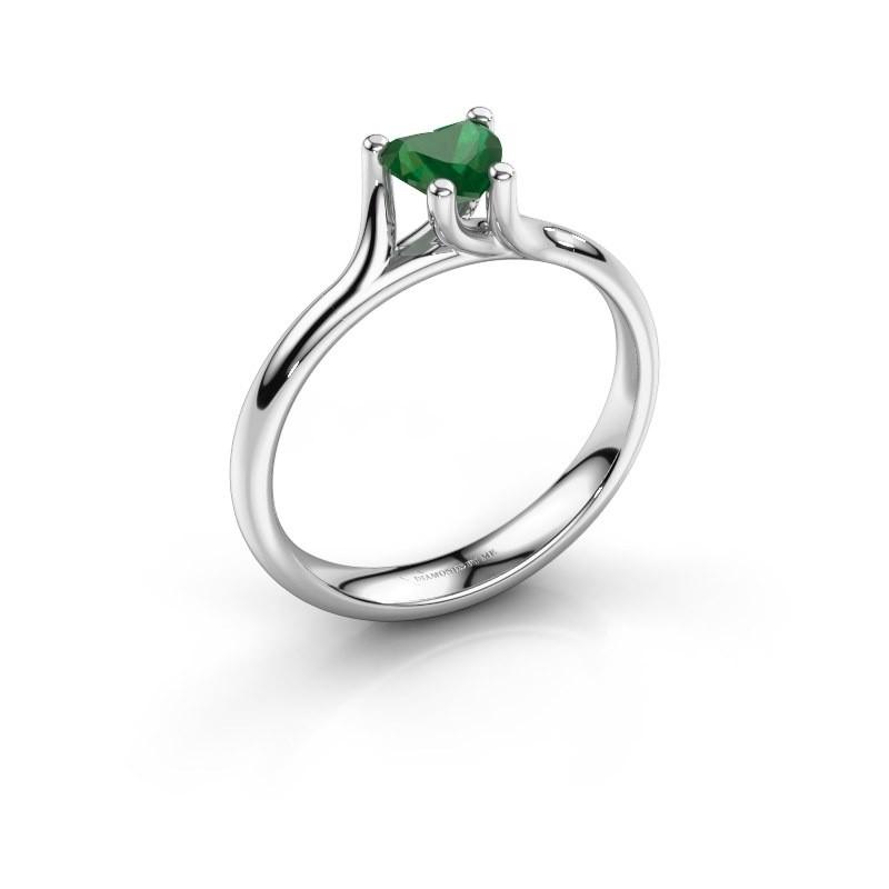Verlobungsring Dewi Heart 585 Weißgold Smaragd 5 mm