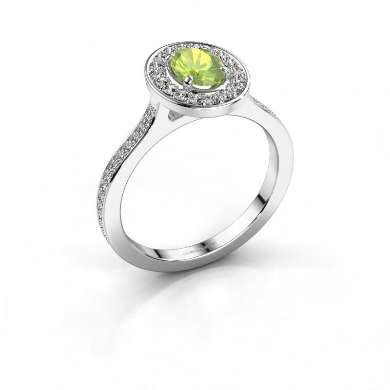 Ring Madelon 2 950 platina peridoot 7x5 mm