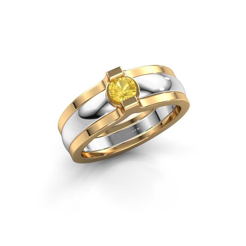 Ring Jade 585 white gold yellow sapphire 4 mm