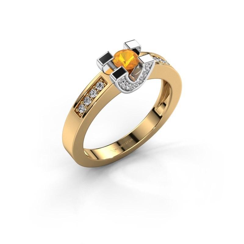 Verlovingsring Jasmijn 2 585 goud citrien 4 mm
