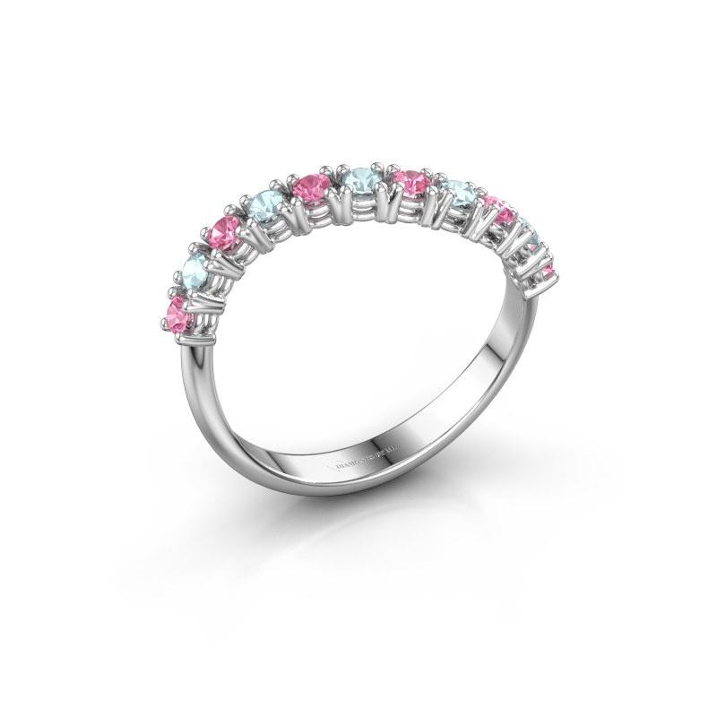 Ring Eliza 585 witgoud roze saffier 2 mm