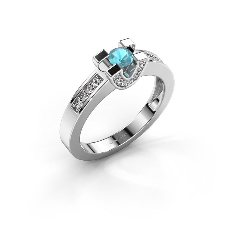 Verlovingsring Jasmijn 2 585 witgoud blauw topaas 4 mm