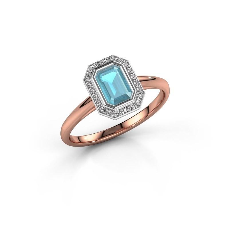 Verlovingsring Noud 1 EME 585 rosé goud blauw topaas 6x4 mm