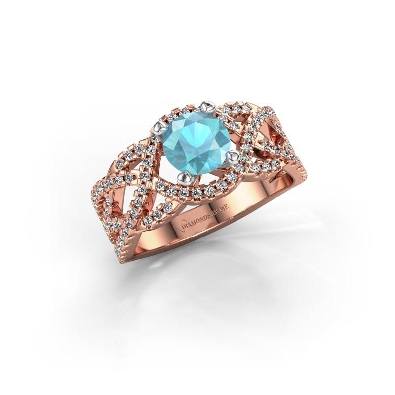 Verlovingsring Jeni 585 rosé goud blauw topaas 6.5 mm