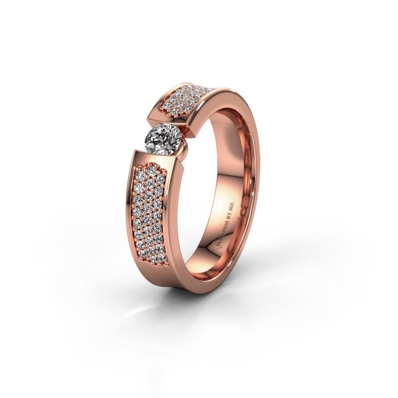 Trouwring WH2100L 375 rosé goud diamant ±5x3 mm