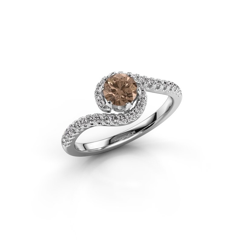 Verlovingsring Elli 950 platina bruine diamant 0.753 crt