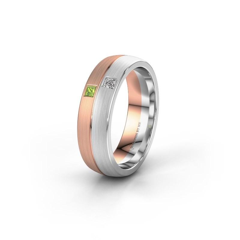 Wedding ring WH0250L26BM 585 rose gold peridot ±0.24x0.08 in