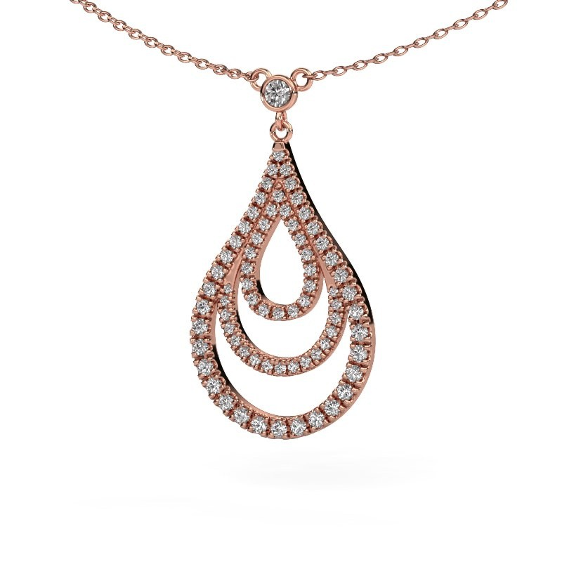 Hanger Delpha 375 rosé goud diamant 0.487 crt