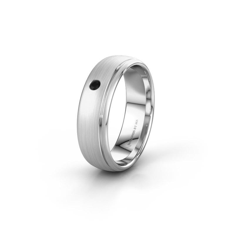 Trouwring WH0501L36AM 925 zilver zwarte diamant ±6x1.7 mm