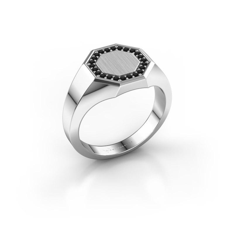 Heren ring Floris Octa 2 925 zilver zwarte diamant 0.216 crt