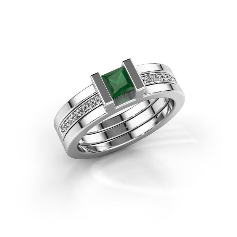 Ring Desire 585 witgoud smaragd 4 mm