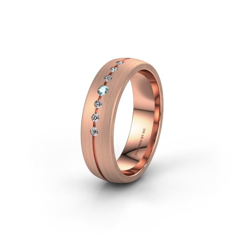 Trouwring WH0162L25A 375 rosé goud aquamarijn ±5x1.7 mm