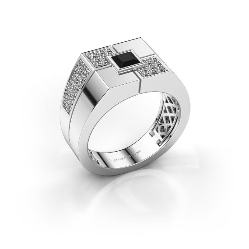 Men's ring Rogier 375 white gold black diamond 1.002 crt