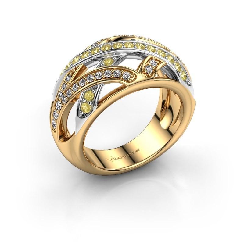 Ring Yinthe 585 goud gele saffier 1.5 mm