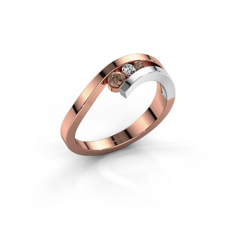 Ring Evalyn 2 585 rosé goud bruine diamant 0.16 crt