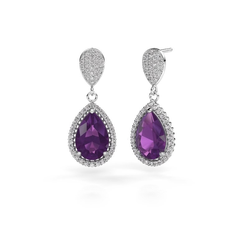 Drop earrings Tilly per 2 950 platinum amethyst 12x8 mm