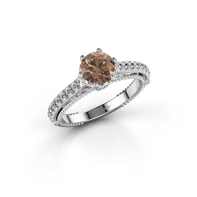 Verlovingsring Venita 950 platina bruine diamant 1.345 crt