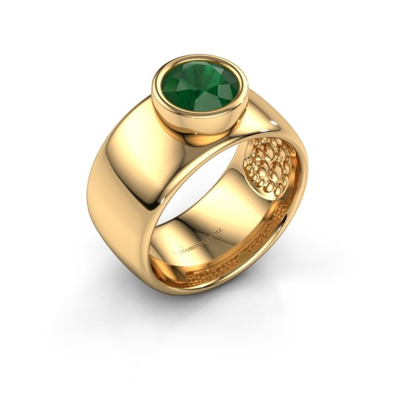 Ring Klarinda 585 goud smaragd 7 mm
