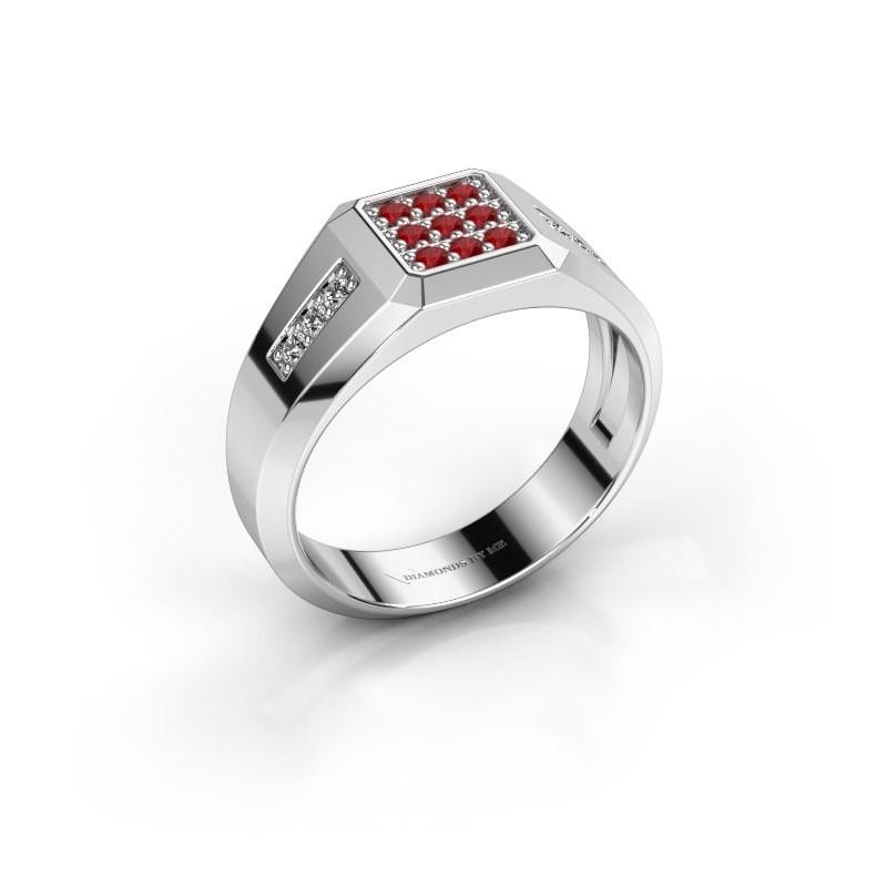Pinky ring Bas 950 platinum ruby 1.7 mm