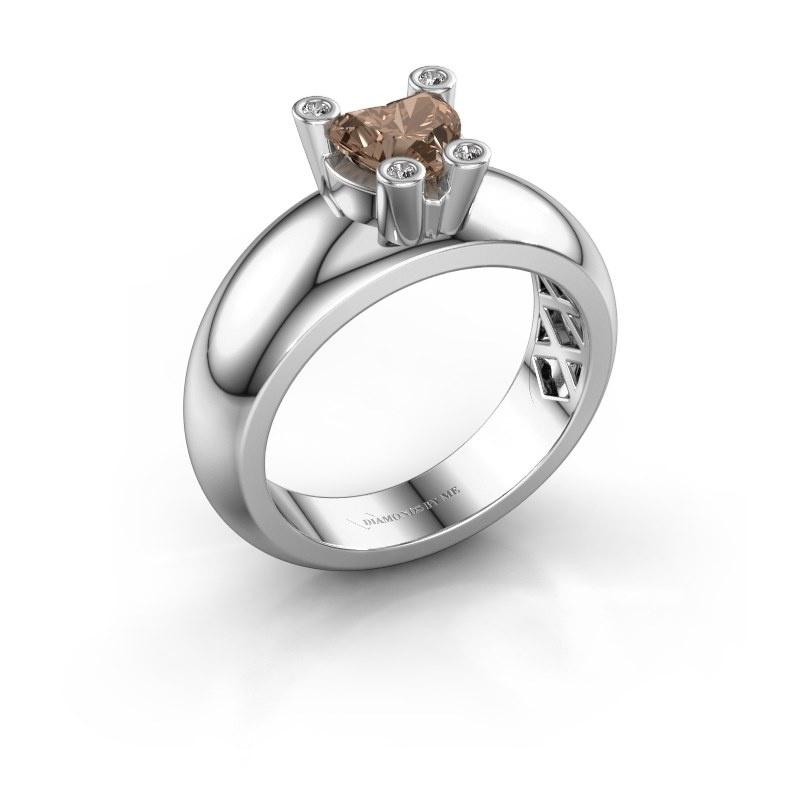 Ring Cornelia Heart 585 white gold brown diamond 0.80 crt