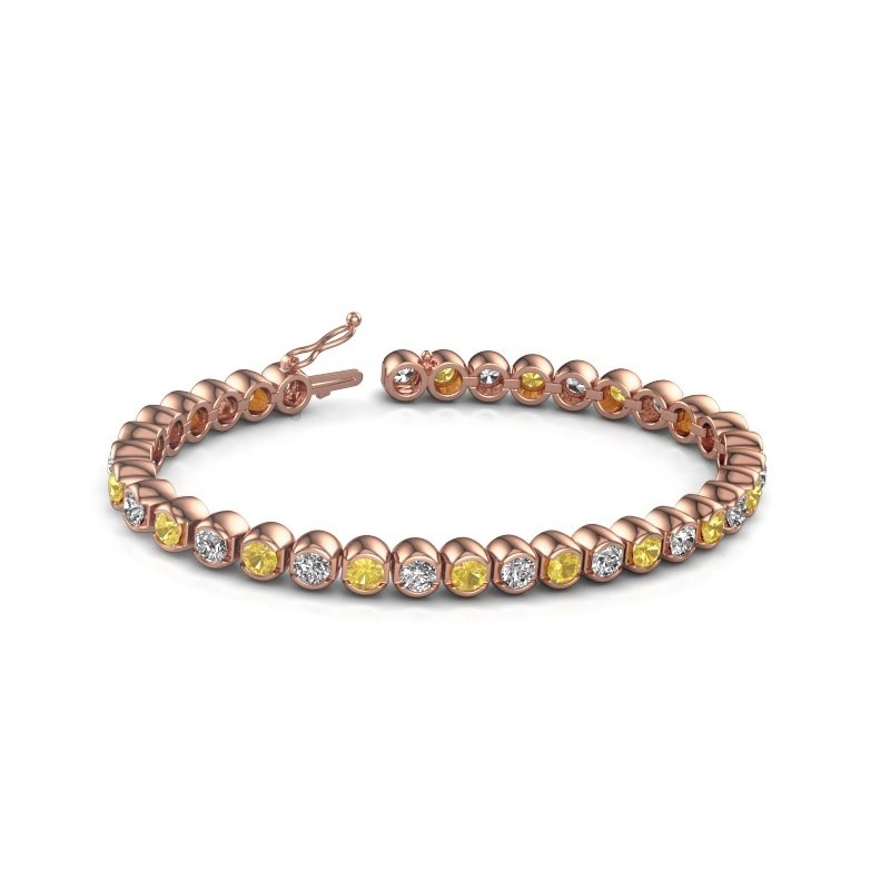 Tennis bracelet Bianca 375 rose gold yellow sapphire 4 mm