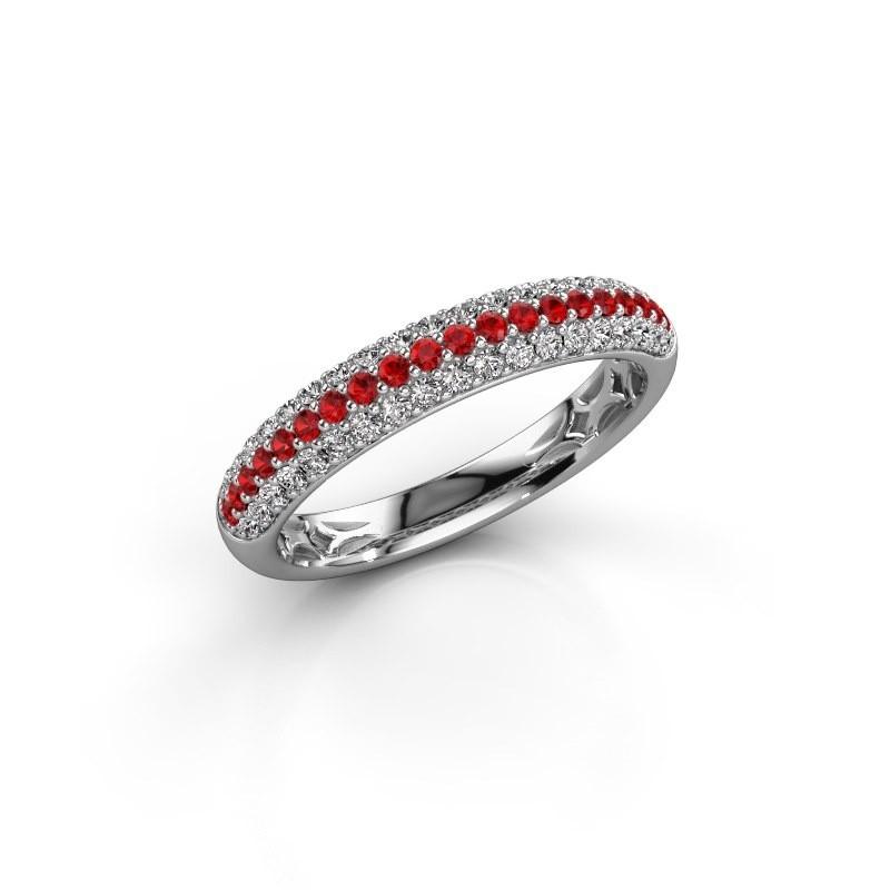 Ring Emely 2 950 platina robijn 1.3 mm