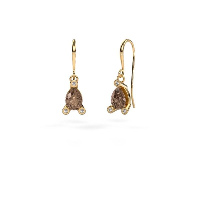Oorhangers Bunny 1 585 goud bruine diamant 1.345 crt