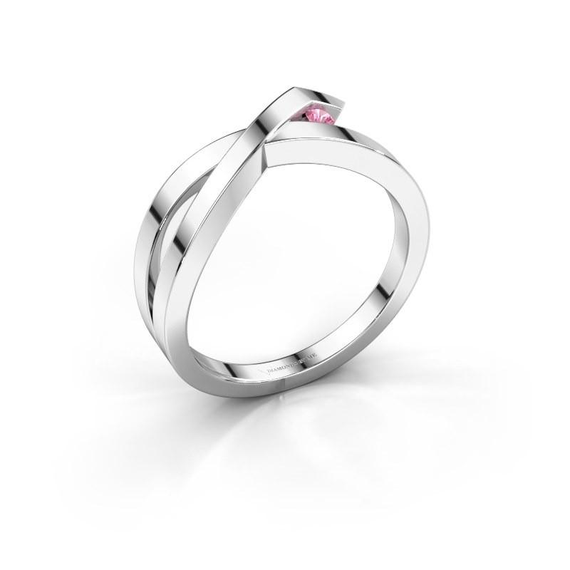Ring Alyssa 925 silver pink sapphire 2 mm