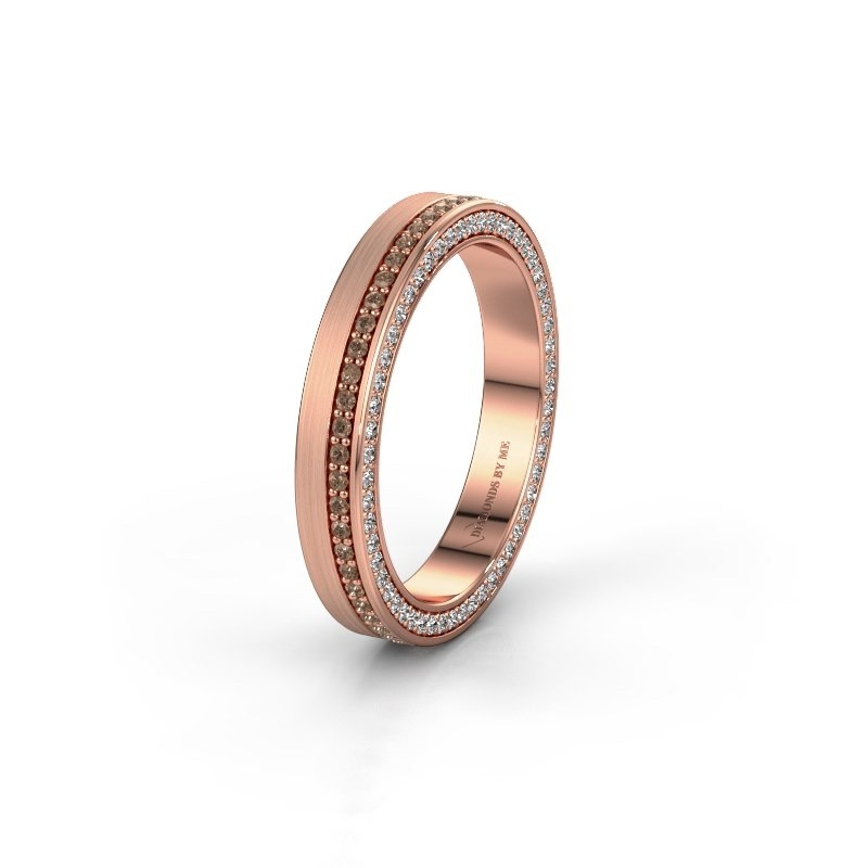 Trouwring WH2214L15BM 585 rosé goud bruine diamant 0.55 crt ±5x2 mm