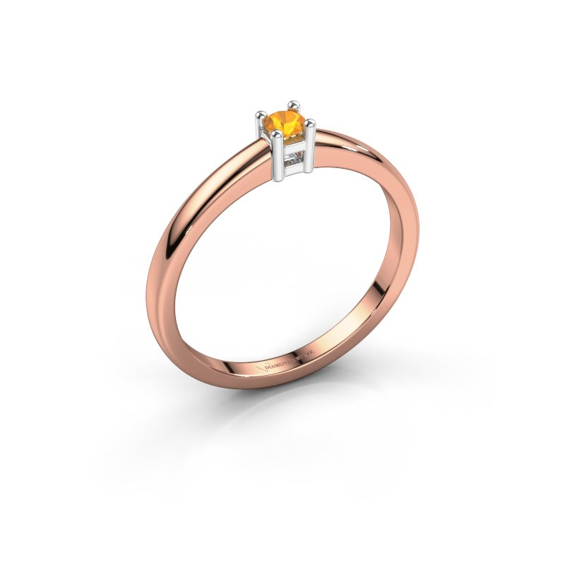 Promise ring Eline 1 585 rosé goud citrien 3 mm