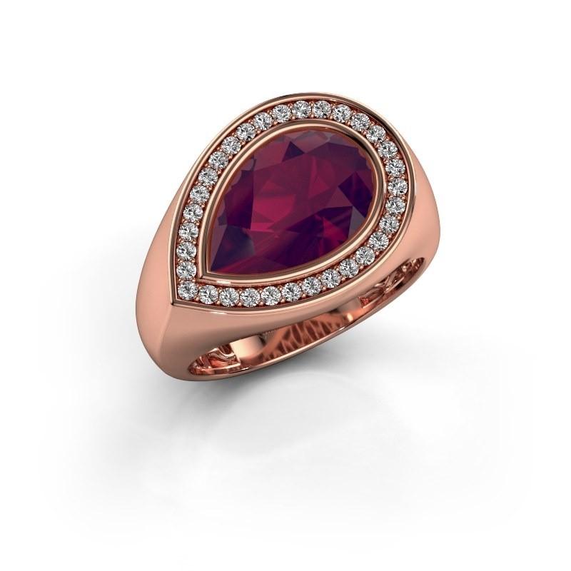 Ring Latashia 375 rosé goud rhodoliet 12x8 mm