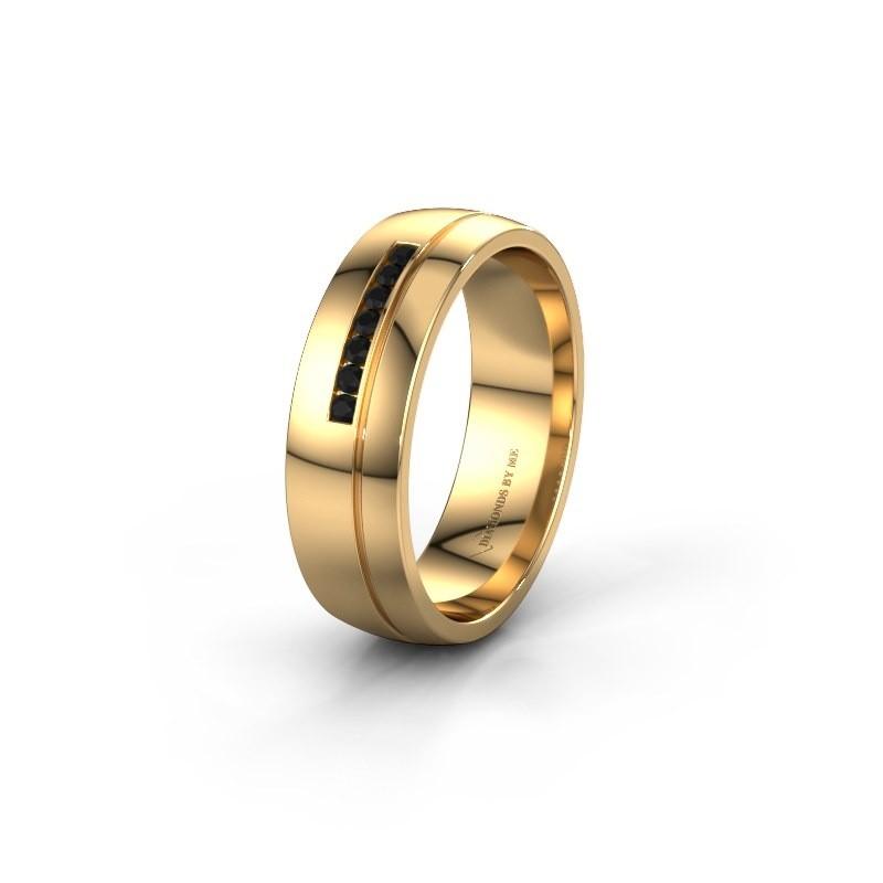 Trouwring WH0308L26AP 585 goud zwarte diamant ±6x1.7 mm