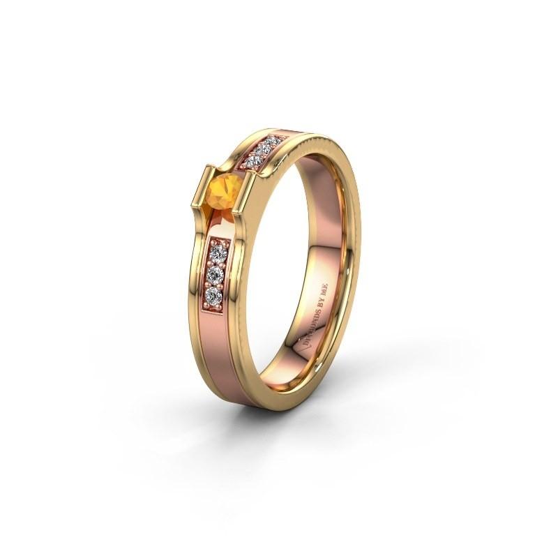 Trouwring WH2110L14A 585 rosé goud citrien ±4x1.7 mm