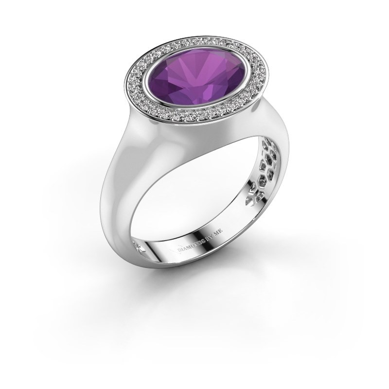 Ring Phebe 375 white gold amethyst 10x8 mm
