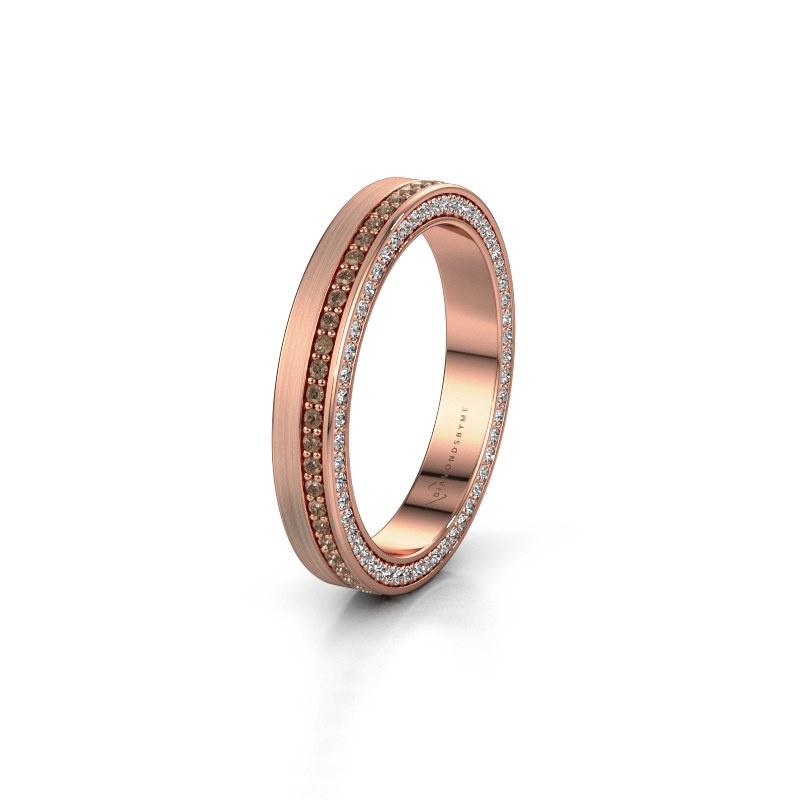 Trouwring WH2214L15BM 375 rosé goud bruine diamant 0.55 crt ±3,5x2 mm