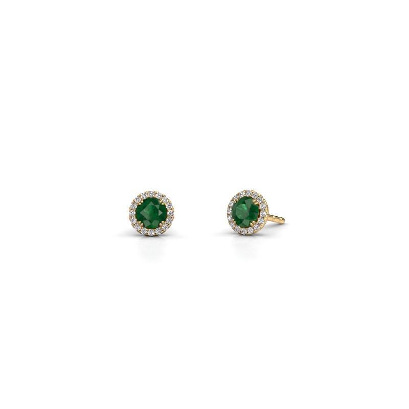 Earrings Seline rnd 375 gold emerald 4 mm