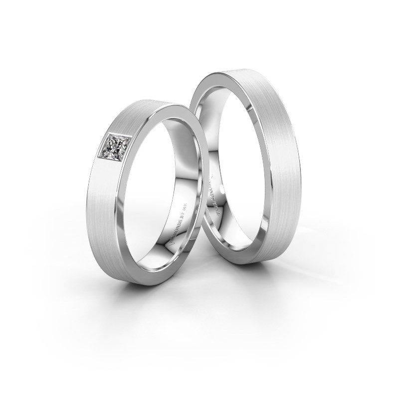 Trouwringen set WH0101LM14BSQ ±4x2 mm 14 karaat witgoud diamant 0.17 crt