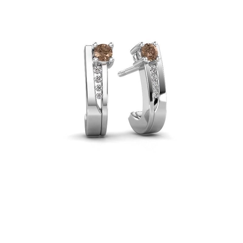 Oorbellen Jewell 585 witgoud bruine diamant 0.218 crt