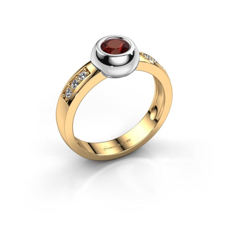 Ring Charlotte Round 585 goud granaat 4.7 mm