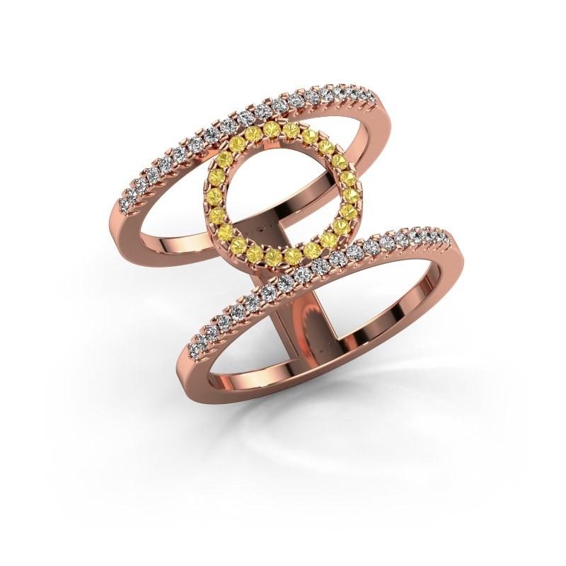 Ring Latoria 2 375 rose gold yellow sapphire 1.1 mm