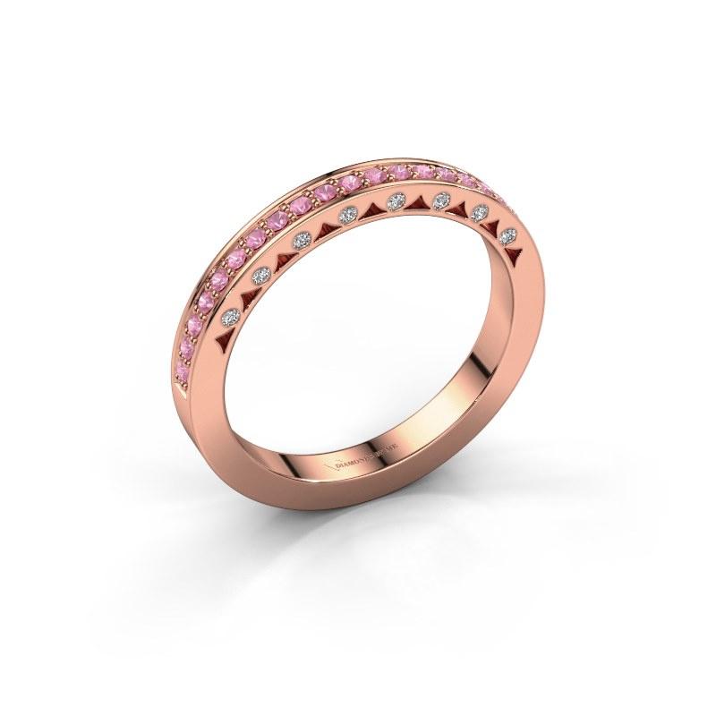 Ring Yasmine 585 rosé goud roze saffier 1.2 mm
